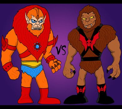 Beast Man VS Grizzlor by Lordwormm