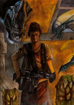 Alien painting with Ripley by simon-artist