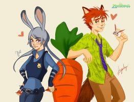 Nick Wilde and Judy Hopps by TOYDREAMER