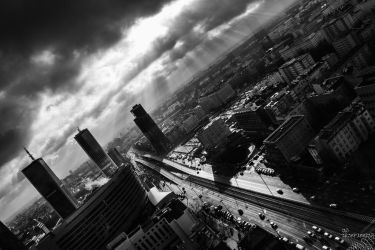 Warsaw in B-W by no-trespassing