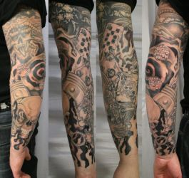 New School ArmSleeve Ready TaT by 2Face-Tattoo