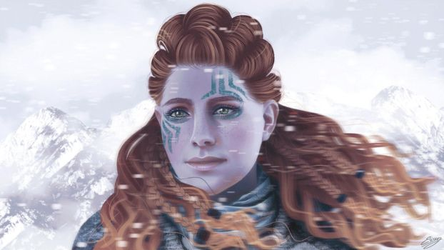 The Frozen Wilds - Aloy (time lapse version) by ElyGraphic