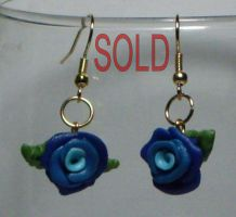 clay - Earrings, Blue Roses by Catgoyle