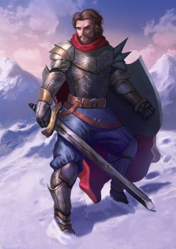 Knight in snow mountain by outlawzz83
