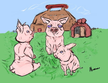 Piggly : Character Study 2 (Three Little Pigs) by Monseo
