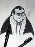 Penguin ink sketch by LeoMitchell
