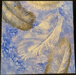 Feathers on Textured Background by tabbydragon14