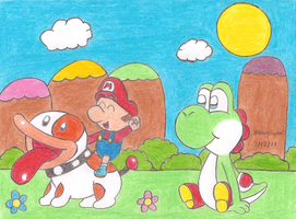 Baby Mario and Poochy by MarioSimpson1