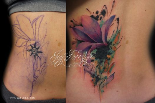 Tattoo flower coverup by Tattoo-J