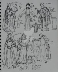 Dresses and Costume sketches by Theophilia