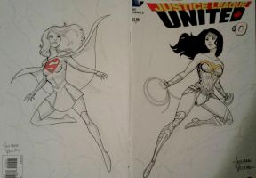 Supergirl and Wonder Woman sketch commission by LucianoVecchio