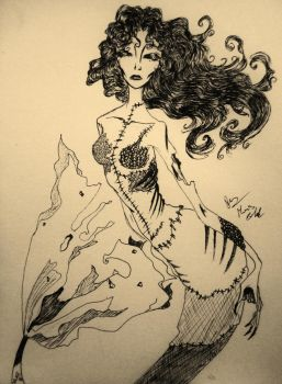 zombie mermaid by made-me-a-monster