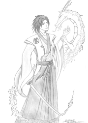 Kagehisa and fire dragon by Devilsheart
