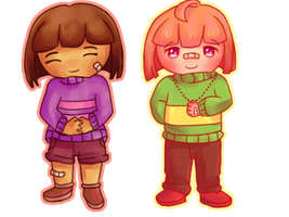 Chibi Frisk and Chara by CaCamel