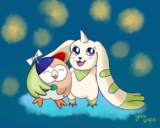 Rowlet and Terriermon by YoshiGamerGirl