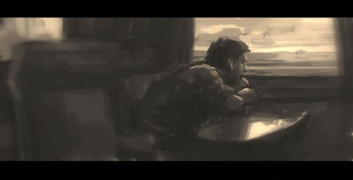 Sketch of a man, by the train window by melconcept