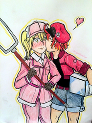 Eosinophil x RBC by TheApatheticKat