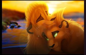 Fluffy Sunset Snuggles by LanieJ