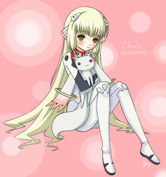 Chii cosplaying Rei hugging Kyubey, for my friend by freya-6th