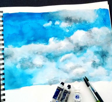 Cloud Painting Practice by LonesomeBookworm