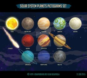 Solar System Planets Pictograms Set by olgameola