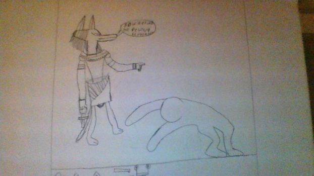 BOW BEFORE THE GRAT ANUBIS  'PUNY MORTIL ' by drippin99
