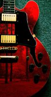 Red Guitar In The Woods by Jhickling