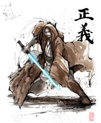 Jedi Knight with calligraphy Justice by MyCKs