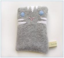 Grey tabby cat cozy by restlesswillow