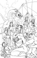 Monsters and Maidens Art Book Cover - Inks by DocRedfield