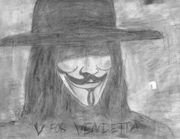 V for Vendetta charcoal sketch by BlueSaltwaterTaffy