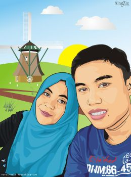 Rudy Susanto and Girlfriend Vector by macanzdigiart