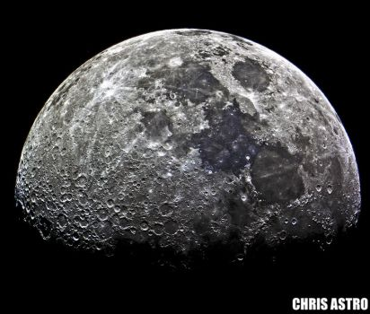 Waxing Gibbous  Moon by chrisastrophoto