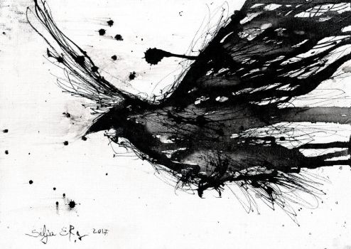 Abstract Raven ink painting by DoodleWithGlueGun