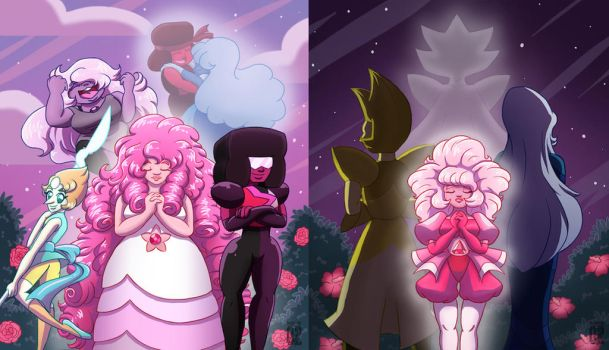 Rose's Crystal Gems and Pink's Diamonds by Scorpius02