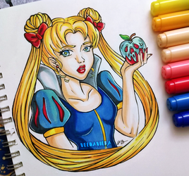 Inktober #1 - Poisonous - Sailor Moon/ Snow White by VeenaViera