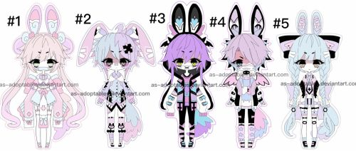 Pluffy bunny adoptable batch CLOSED by AS-Adoptables