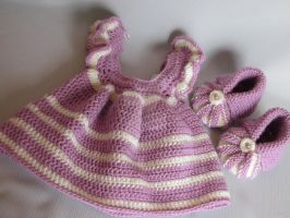 Handmade Baby Crochet Dress and Booties set (0-3 m by MagicalString