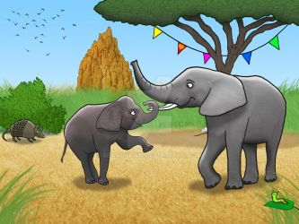 Elephants Playing by SeanDrawn
