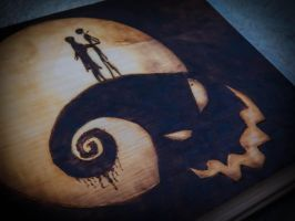 Jack and Sally on Oogie Hill pyrography FOR SALE by Lustuad