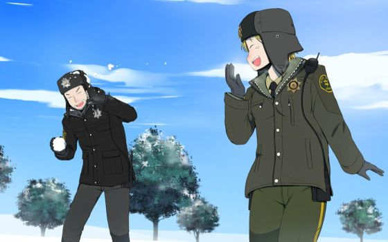 Commission - Snowball Fight by Xinom