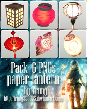 [02052016] Pack 6 PNGs Paper Lantern by Trung by trung353535