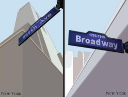 Vector NYC Street Signs by LuigiLA