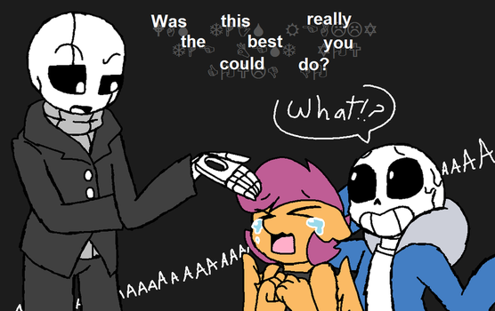 Scootaloo meets W.D. Gaster by synnibear03