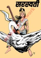 Saraswati the goddess of arts and knowledge by mrinal-rai