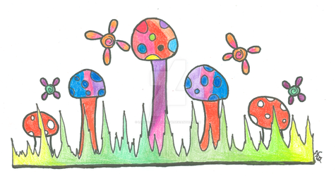 Magic Mushroom Faerie Field by LiquidCandyRainbow