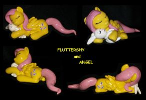 Fluttershy and Angel Sleeping custom sculpture by MadPonyScientist