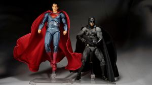 Mafex BvS Batman and Superman by Infinitevirtue