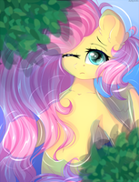Fluttershy on the water by mitralexa