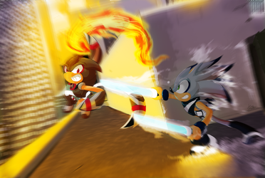 COM: Rooftop battle by KimsSpace